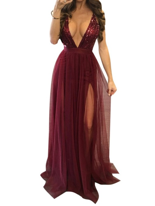 V-Neck Floor-Length Sequins Sweep/Brush Graduation Dress 2020