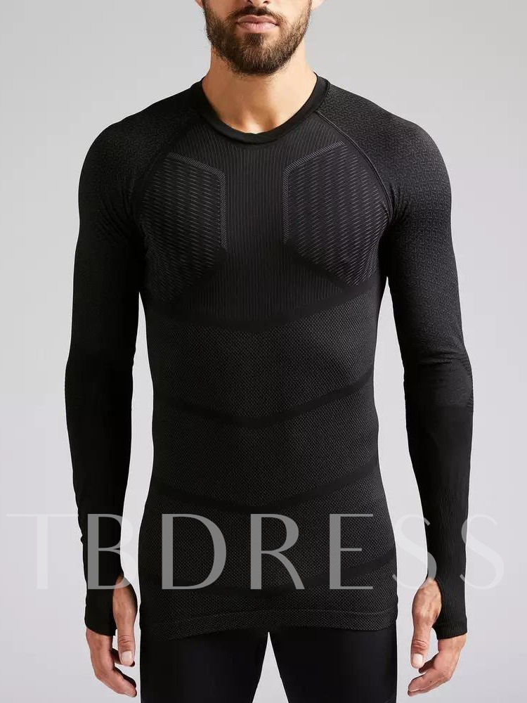 Sports Round Neck Long Sleeve Men's T-shirt