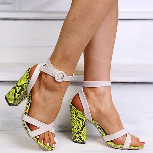 Open Toe Chunky Heel Line-Style Buckle Casual Sandals
