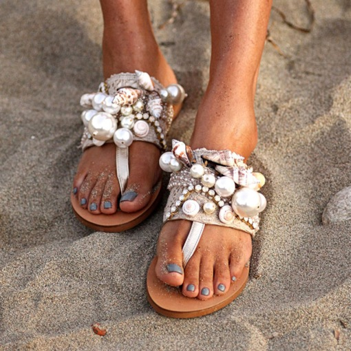 Thread Flat With Thong Slip-On Summer Slippers