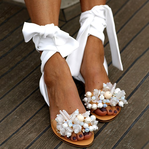 Flat With Open Toe Ankle Strap Lace-Up 3D Sandals