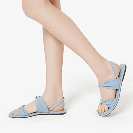 Flat With Slip-On Round Toe Thread Sandals