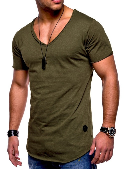 V-Neck Casual Pullover Men's T-shirt