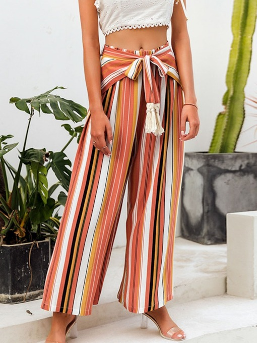 Lace-Up Color Block Loose Full Length Women's Casual Pants