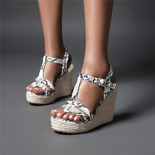 Open Toe Wedge Heel T-Shaped Buckle Low-Cut Upper Sandals