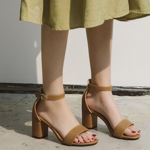 Line-Style Buckle Chunky Heel Open Toe Heel Covering Casual Sandals
