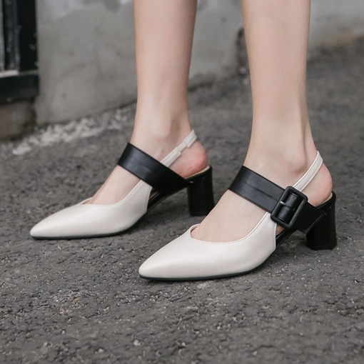 Pointed Toe Chunky Heel Slip-On Low-Cut Upper Sandals