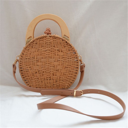 Korean Plain Knitted Tote Bags Straw Bags