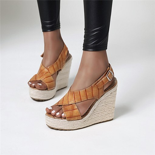Slip-On Open Toe Wedge Heel Thread Sandals