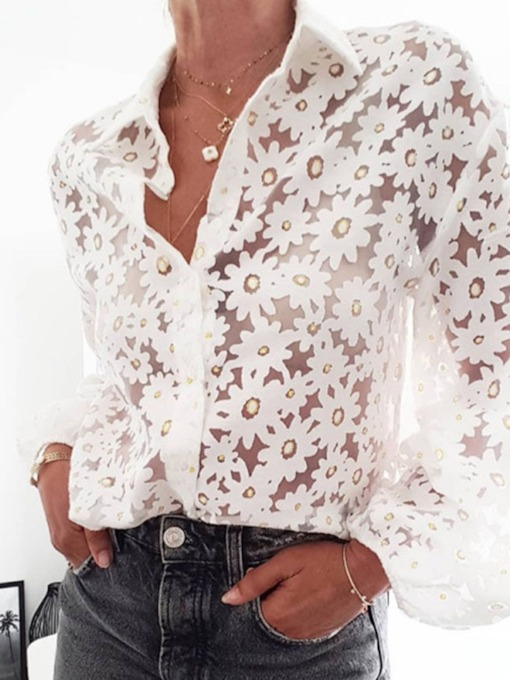 Lapel Standard Lace Long Sleeves See-Through Women's Blouse