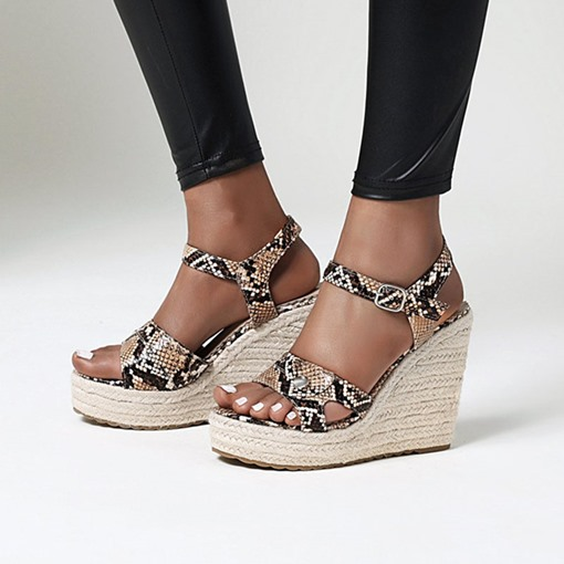 Buckle Wedge Heel Open Toe Serpentine Sandals