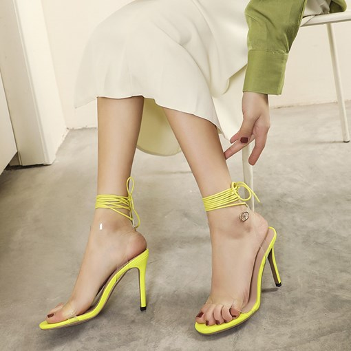 Line-Style Buckle Stiletto Heel Open Toe Plain Sandals