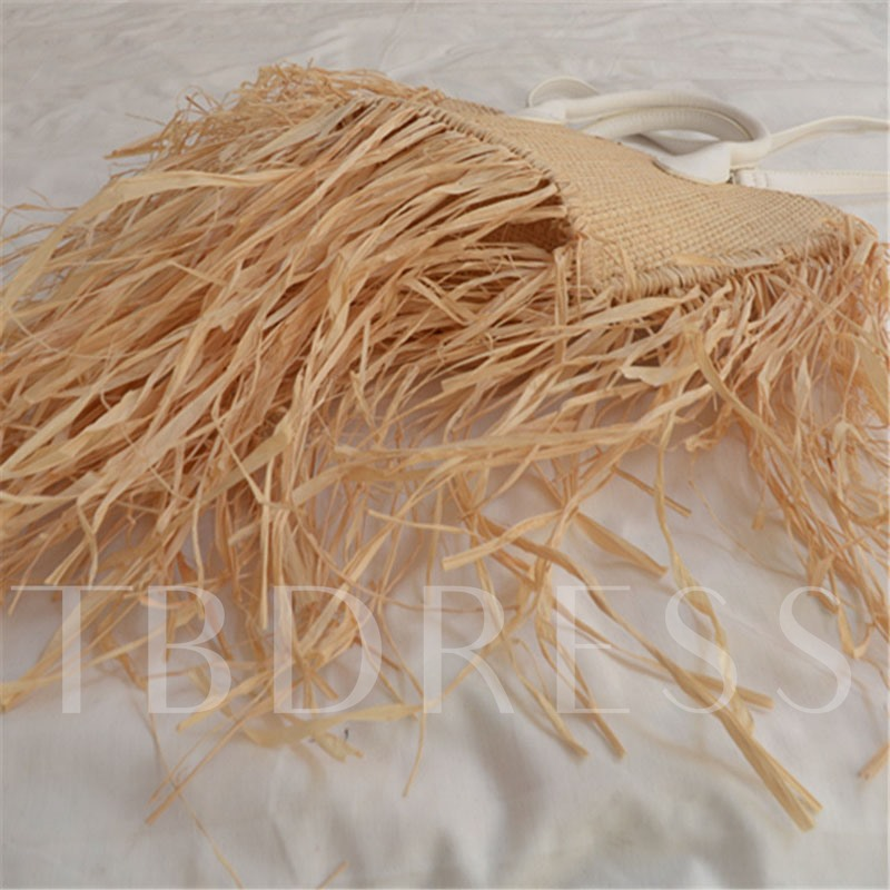 Plain Knitted Grass Tote Bags Casual,Travel Bags
