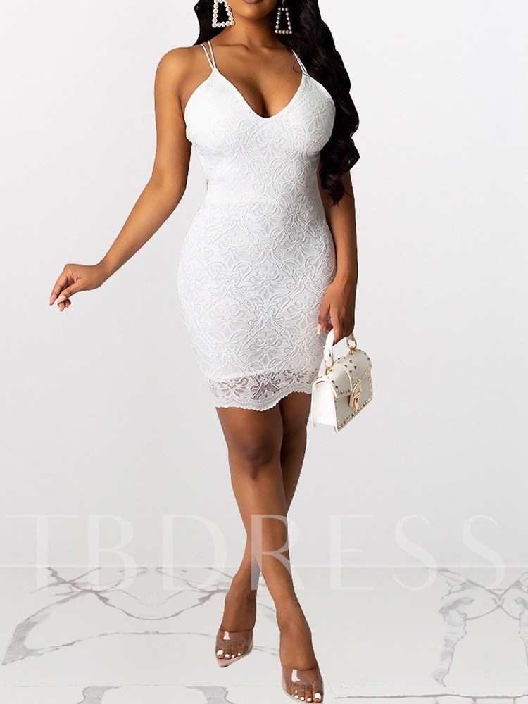 Sleeveless Backless Above Knee V-Neck Lace Party/Cocktail Women's Dress