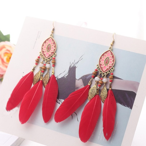 Feather E-Plating Alloy Holiday Earrings
