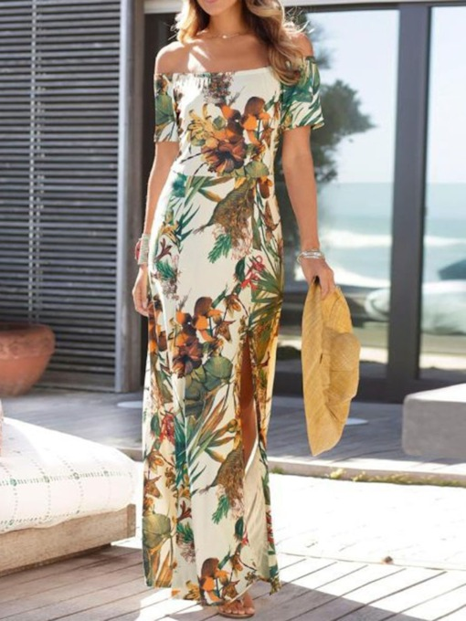 Floor-Length Short Sleeve Split Off Shoulder Pullover Women's Dress