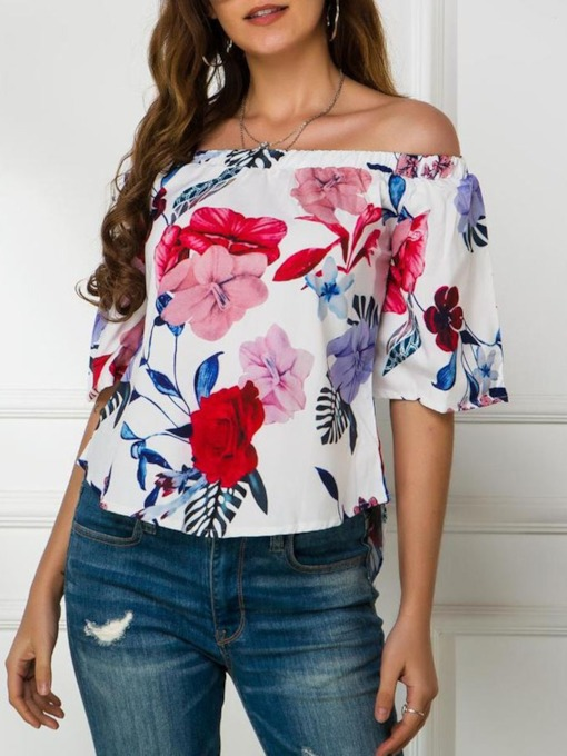 Half Sleeves Off Shoulder Floral Standard Casual Women's Blouse