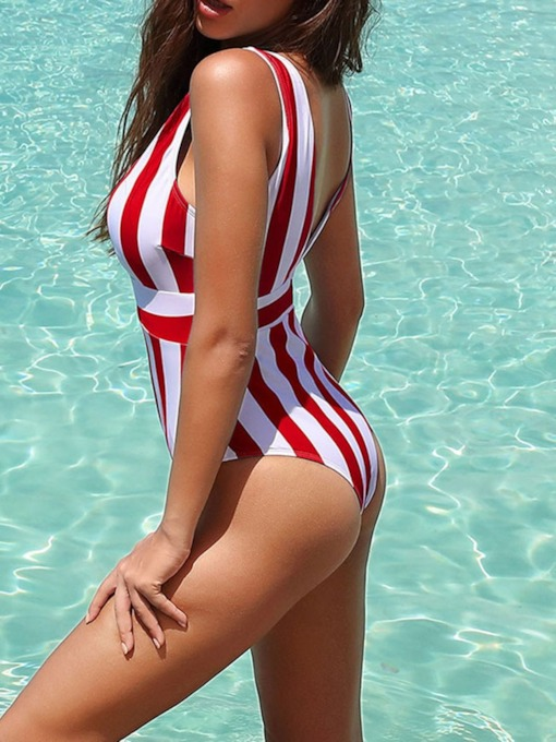 Stripe One Piece Print Sexy V-Neck Women's Swimwear