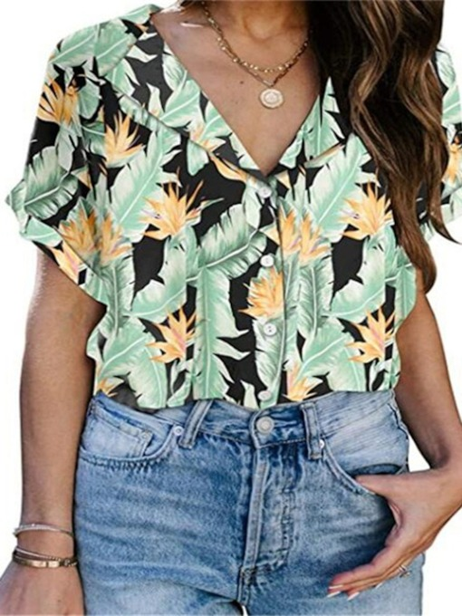 Print Lapel Standard Floral Short Sleeves Casual Women's Blouse