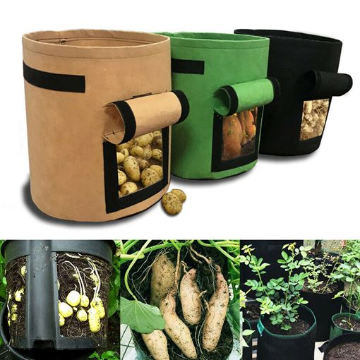 Black Non-Woven Fabric Cylinder Medium Grow Bags 7 Gallon 26L (30D*35H)