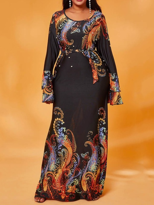 Plus Size Print Long Sleeve Round Neck Floor-Length Women's Dress