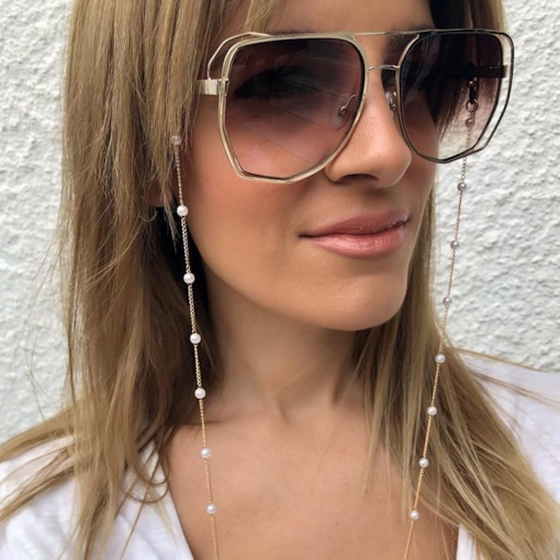 Women Fashion Simple Beaded Water Drop Glasses Chain Hanging Neck Non-slip Glasses Rope