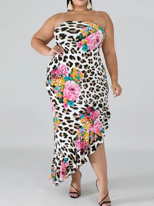 Plus Size Off Shoulder Print Sleeveless Ankle-Length Floral Party/Cocktail Women's Dress