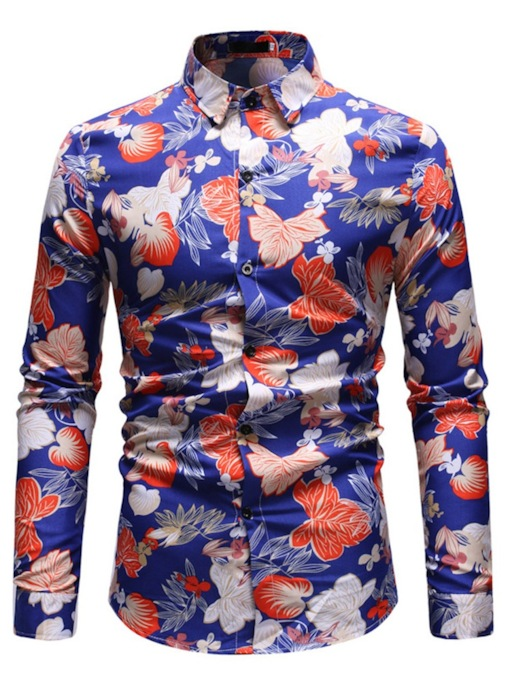 Casual Print Slim Men's Shirt