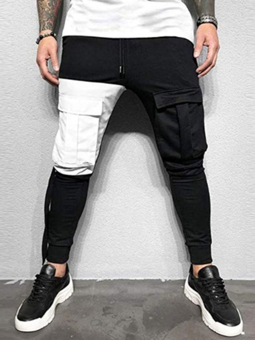 Lace-Up Polyester Men's Casual Pants