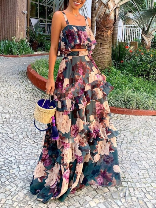 Travel Look Print Floral Sweet Layered Women's Two Piece Sets