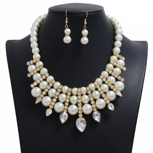 Fashion Necklace Vintage Diamante Wedding Jewelry Sets