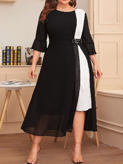 robe femme patchwork manches 3/4 col rond mi-mollet grande taille