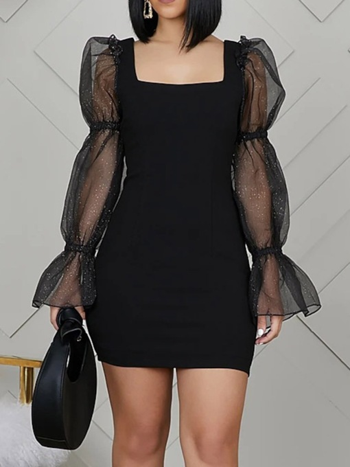 Date Night/Going Out Square Neck Long Sleeve Above Knee Mesh Sweet Women's Dress