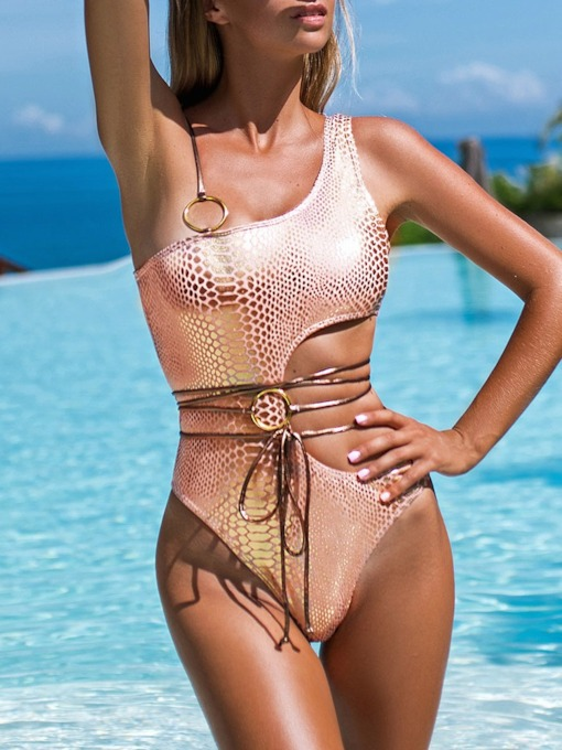 One Piece Hollow One Shoulder Lace-Up Snakeskin Women's Swimwear