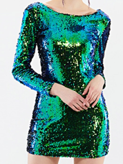 Sequins Round Neck Above Knee Long Sleeve Fall Women's Dress