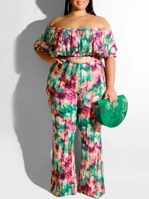Plus Size Print Western Color Block Pants Bellbottoms Women's Two Piece Sets