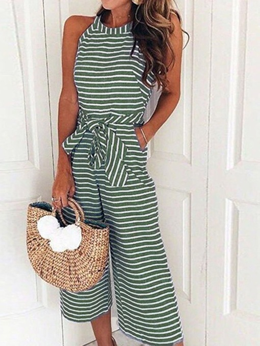 Print Mid-Calf Stripe Western Loose Women's Jumpsuit
