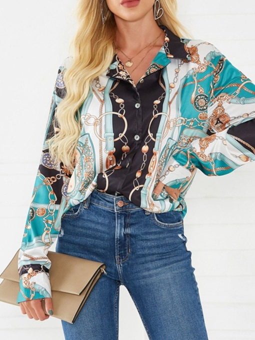 Print Long Sleeve Floral Color Block Fashion Women's Blouse