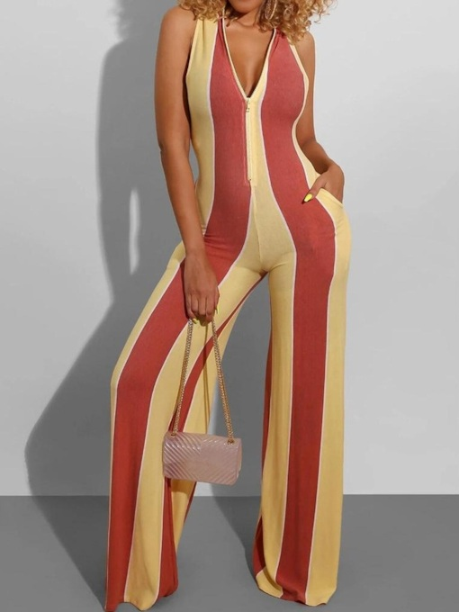 Full Length Fashion Color Block Zipper Wide Legs Women's Jumpsuit