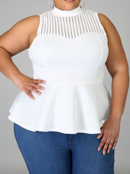 Plus Size Patchwork Spandex I-Shaped Standard Women's Tank Top