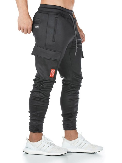 Spring Fall Men's Casual Mid Waist Pants