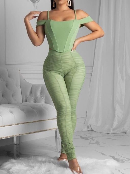 Sexy T-Shirt Plain Backless Pullover Women's Two Piece Sets