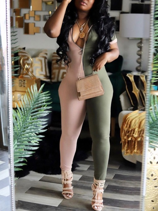 Summer Full Length Zipper Color Block Sexy Pencil Pants Women's Jumpsuit
