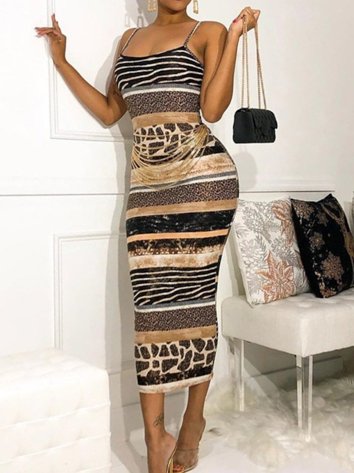 Scoop Mid-Calf Print Sleeveless Sexy Backless Mid Waist Women's Dress