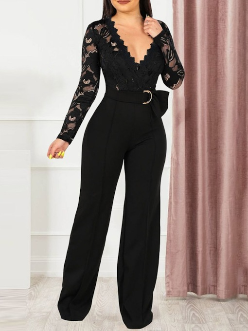 Full Length Lace Plain Sexy Loose Women's Jumpsuit