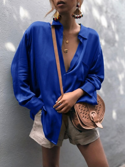 Plain Lapel Long Sleeve Mid-Length Women's Blouse