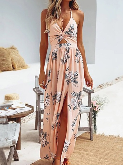 Floral Casual Ankle-Length Backless V-Neck Sleeveless Halter Women's Dress