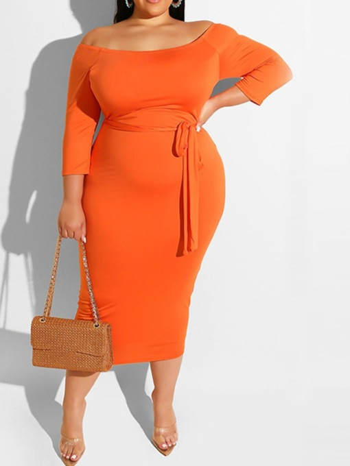 Plus Size Mid-Calf Off Shoulder Three-Quarter Sleeve Backless Fashion Women's Dress