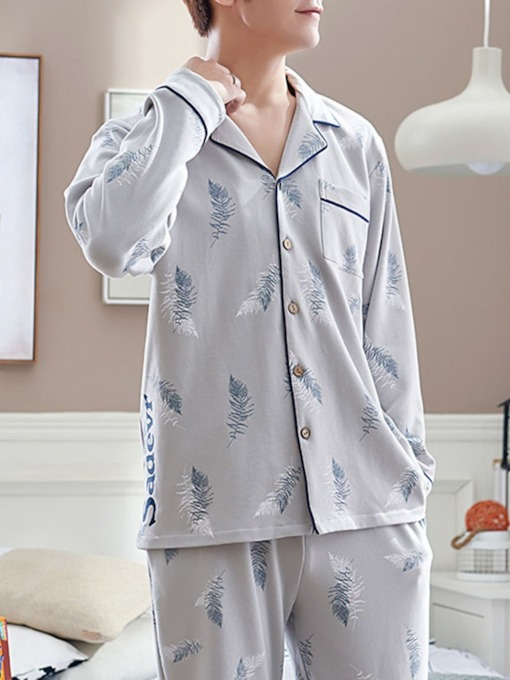 Button Simple Plant Long Sleeve Sleep Top Men's Pajamas Sets