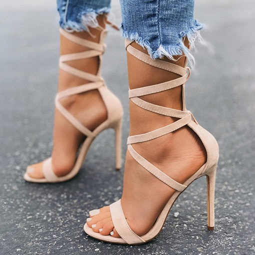 Lace-Up Stiletto Heel Open Toe Ankle Strap Cross Strap Sandals